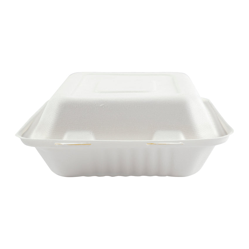 "7.875 x 8 x 3.19"" Medium 3 Section Molded Fiber Deep Hinged Lid Container - Front View"