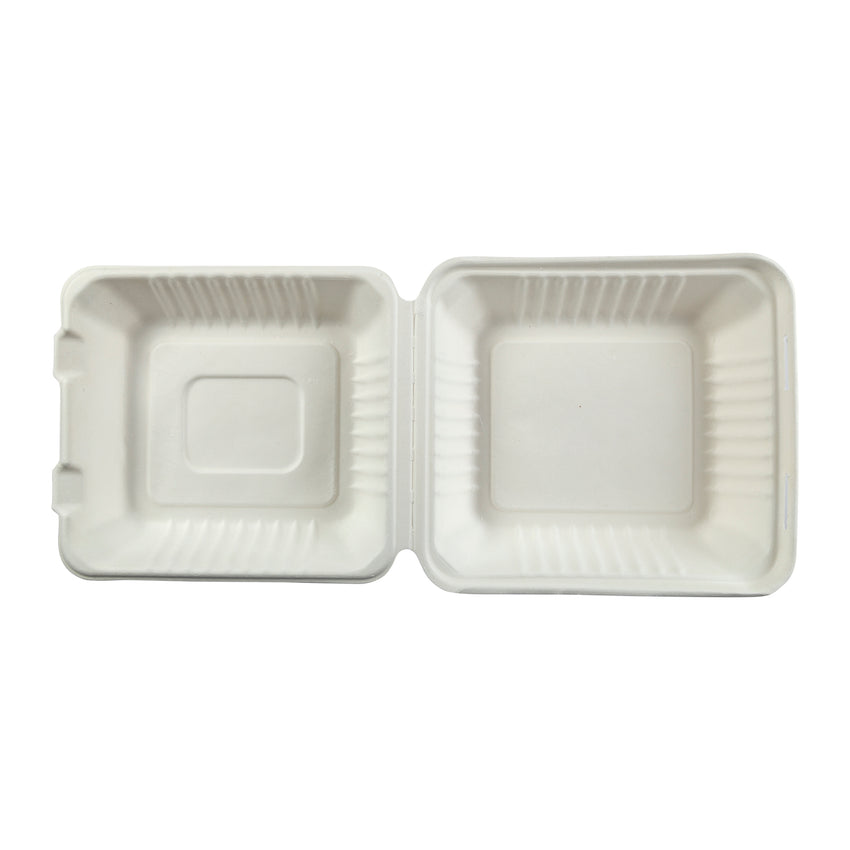 "7.875 x 8 x 3.19"" Medium 3 Section Molded Fiber Deep Hinged Lid Container - Top View"