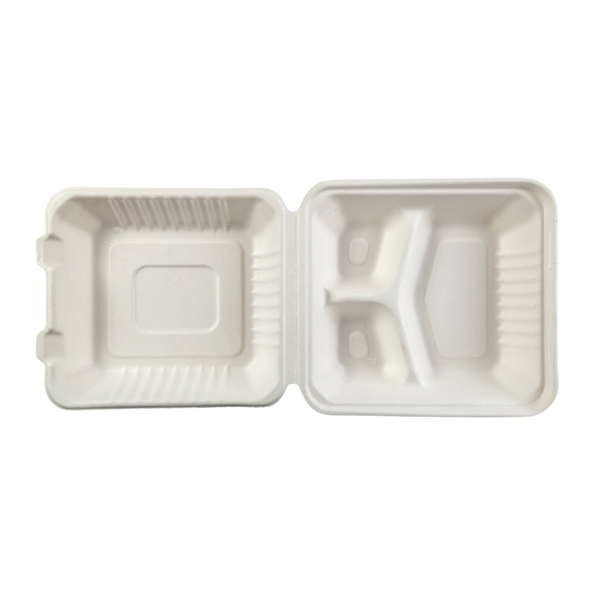 DHL-83 - Medium 3 Section Molded Fiber Deep Hinged Lid Containers Sample