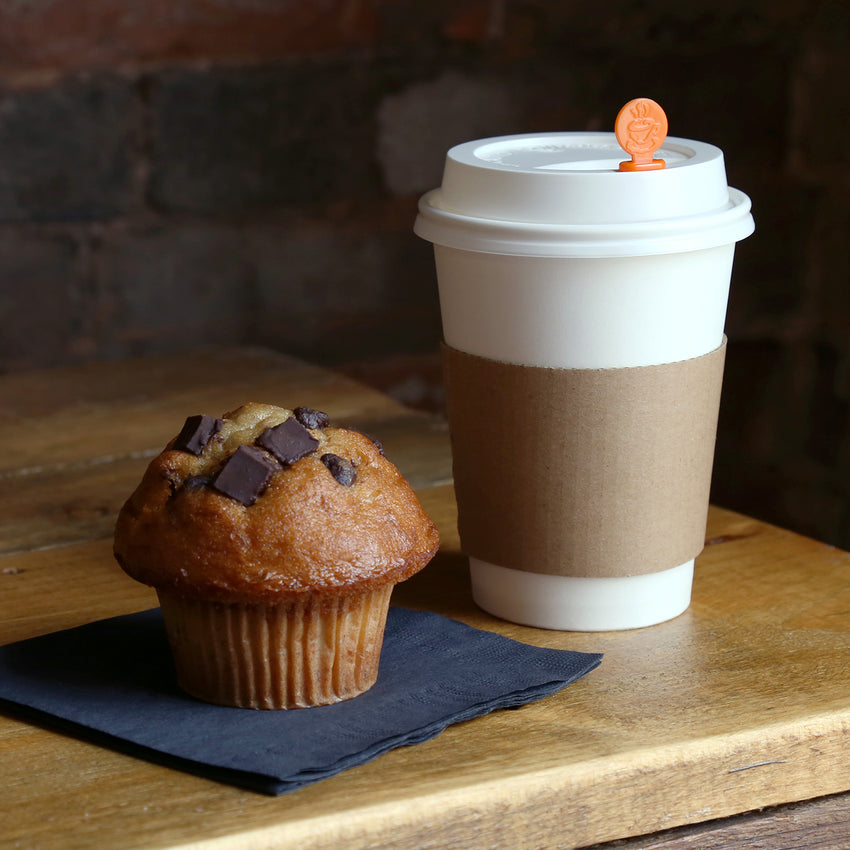 Envirolines Kraft Hot Cup Sleeve on Coffee Cup with Lid Plug and Muffin