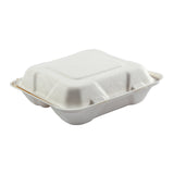 "7.875 x 8 x 2.5"" Medium 3 Section Molded Fiber Hinged Lid Container"
