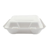 "7.875 x 8 x 2.5"" Medium 3 Section Molded Fiber Hinged Lid Container - Front View"