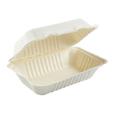 "9"" x 6"" Hoagie Molded Fiber Hinged Lid Container with Open Lid"