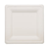 "P035 - 8"" x 8"" Square Sugarcane Disposable Plates Sample"