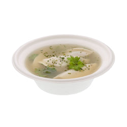 12 oz Sugarcane Disposable Bowl with Dumpling Soup