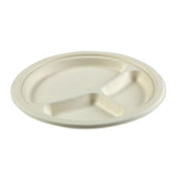 "9"" - 3 Section Round Heavy Molded Fiber Plate"