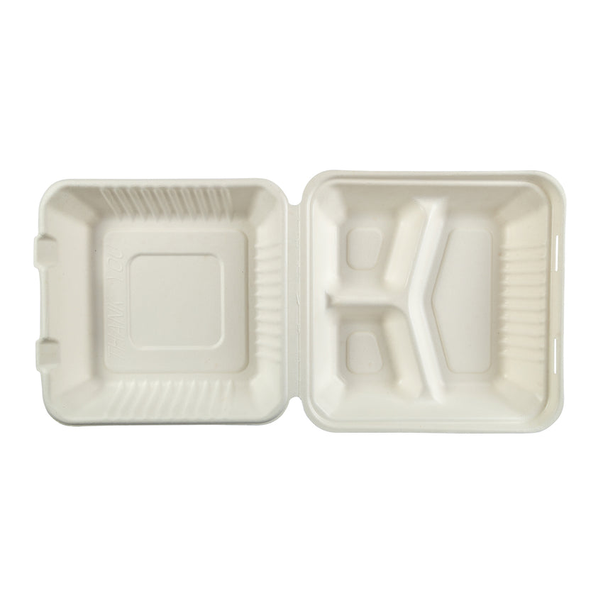 PLA-39 - Large 3 Section Molded Fiber Hinged Lid Containers PLA Lined Sample