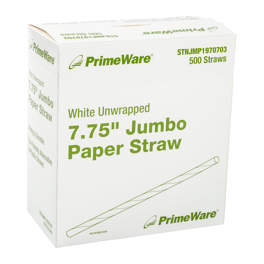 "7.75"" White Unwrapped Jumbo Paper Straws, Case of 4,000"