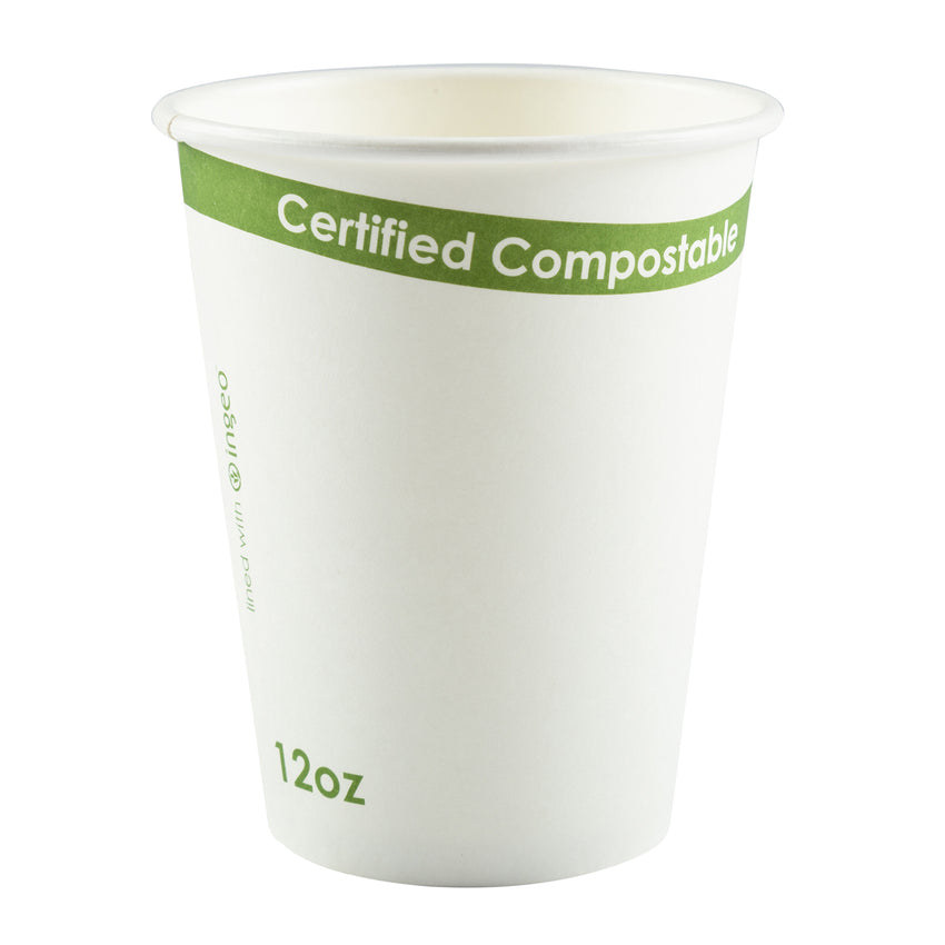 W-HC-12 - 12 oz. White Compostable Cup PLA Lined Sample
