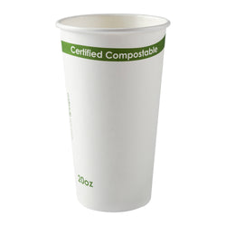 20 oz. White Compostable Cup PLA Lined