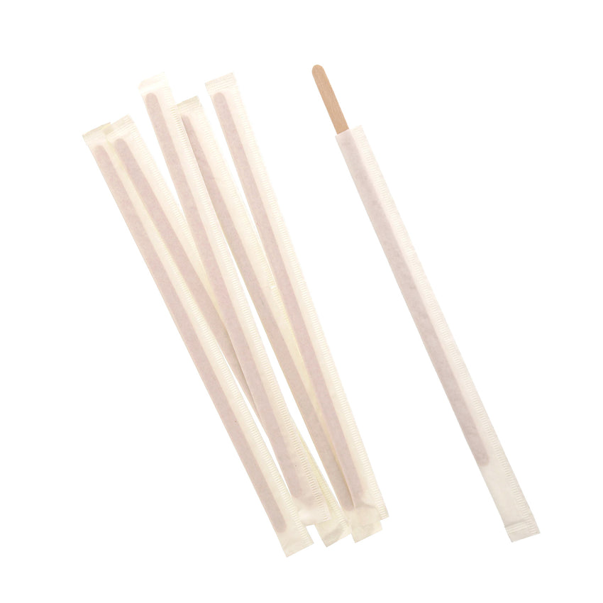 "7.5"" Individually Wrapped Wood Coffee Stirrers"