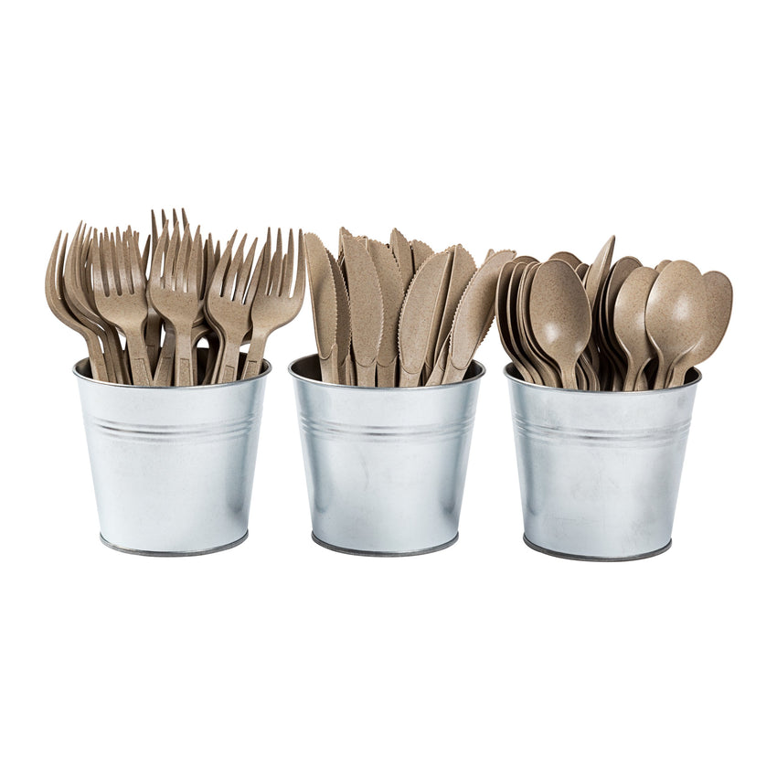 "Envirolines WP2601 6"" Heavy Weight Disposable Wheat Teaspoons Family in Bucket"