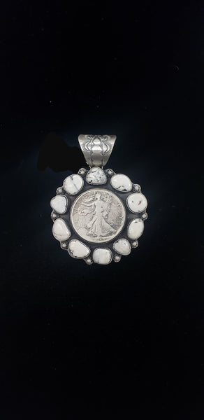 White Buffalo Coin Pendant