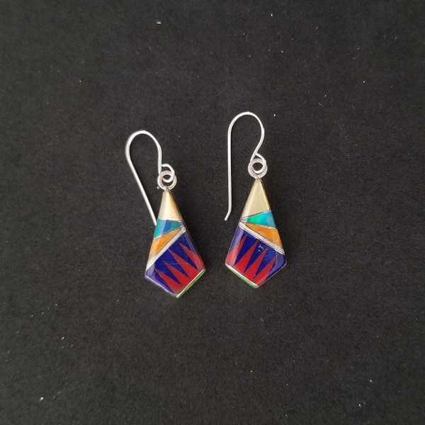 Colorful inlay dangle earrings
