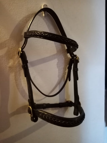 English Leather Fancy plait In Hand Show Bridle