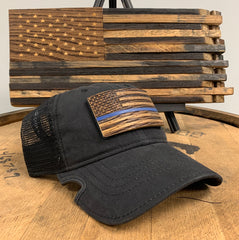 Thin Blue Line Bourbon Barrel American Flag Patch & Notch Classic Adjustable Black Operator Hat Combo