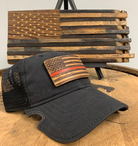 Thin Red Line Bourbon Barrel American Flag Patch & Notch Classic Adjustable Black Operator Hat Combo