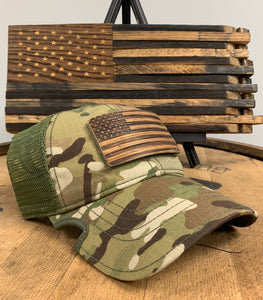 Bourbon Barrel American Flag Patch & Notch Classic Adjustable Multicam Operator Hat Combo