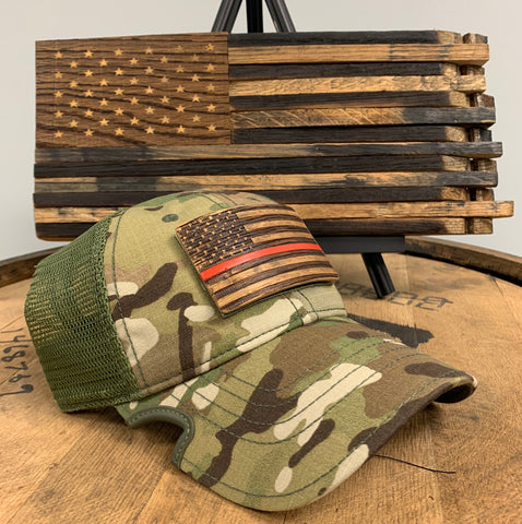 Thin Red Line Bourbon Barrel American Flag Patch & Notch Classic Adjustable Multicam Operator Hat Combo
