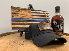 Load image into Gallery viewer, Thin Blue Line Bourbon Barrel American Flag Patch & Notch Classic Adjustable Black Operator Hat Combo