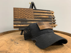 Bourbon Barrel American Flag Patch & Notch Classic Adjustable Black Operator Hat Combo