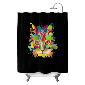 Cubist Pop Art Cat Shower Curtain