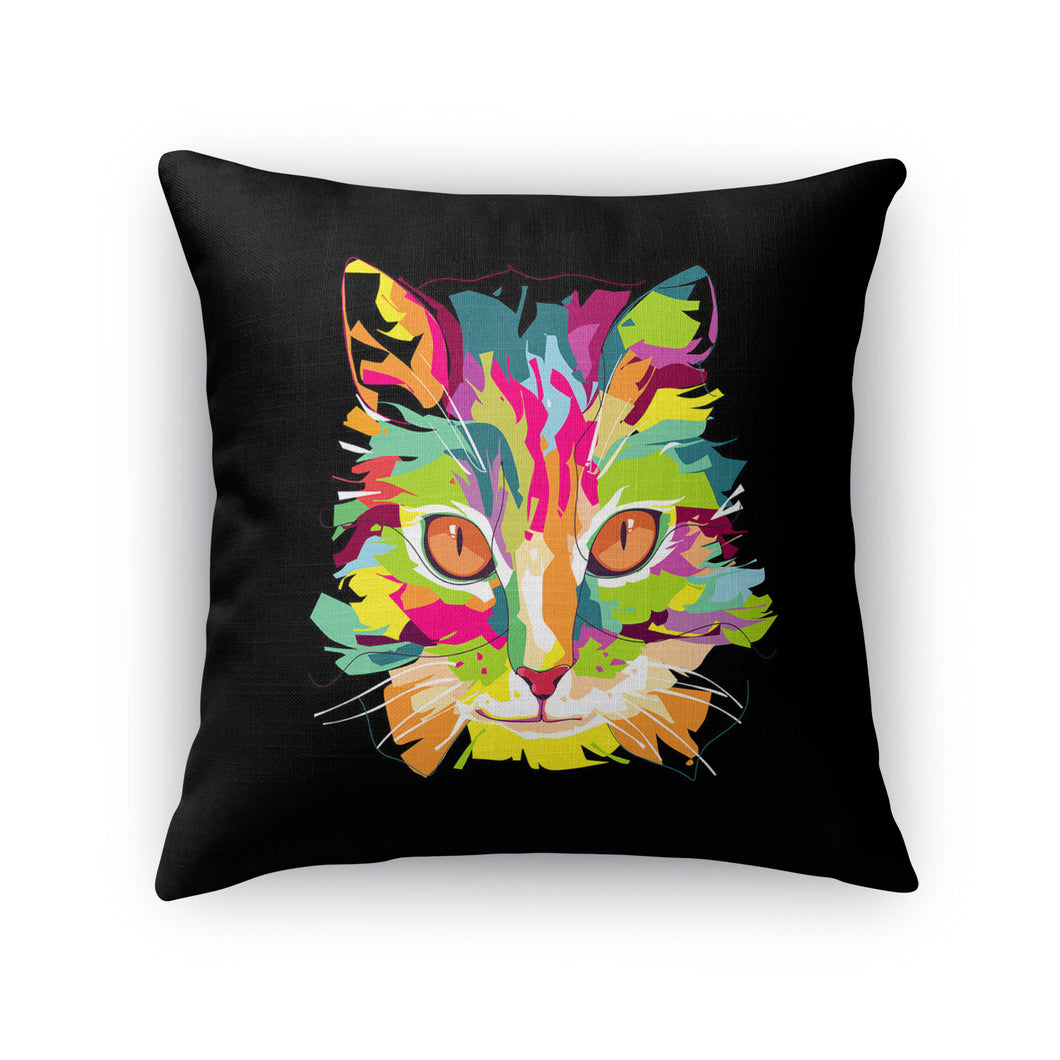 Cubist Pop Art Cat Throw Pillow