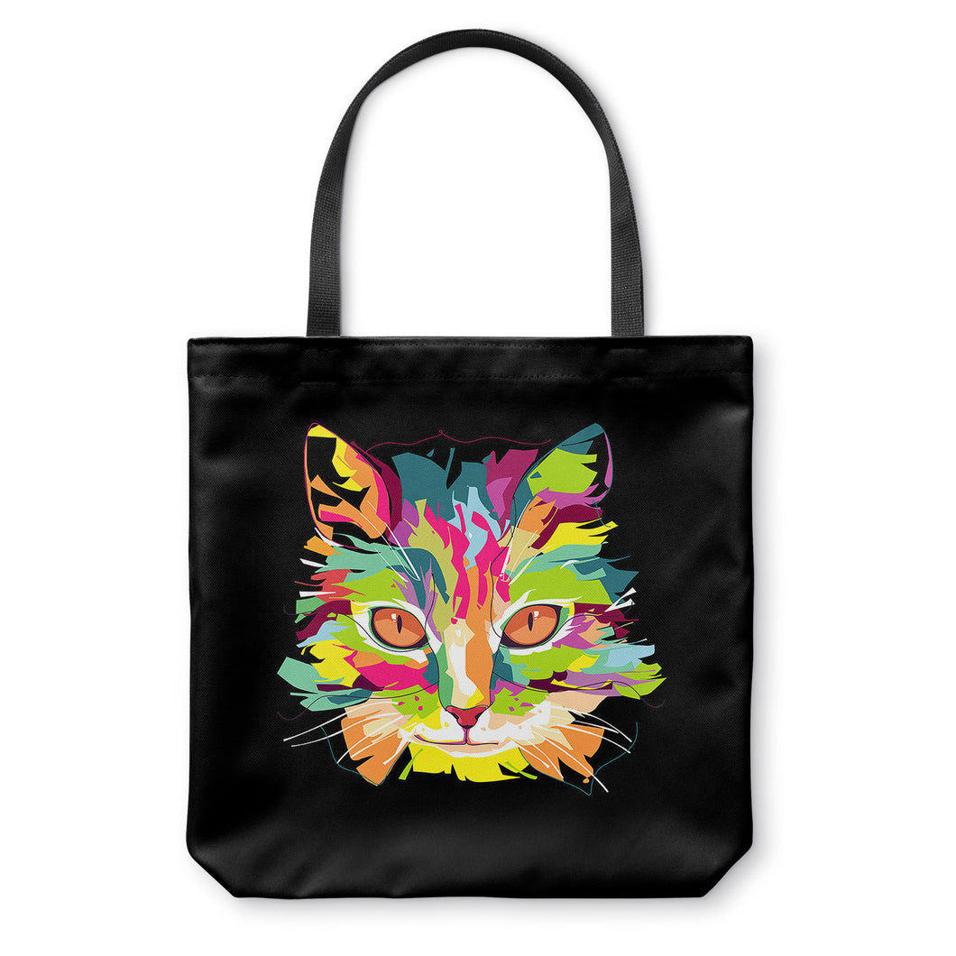 Cubist Pop Art Cat Tote Bag