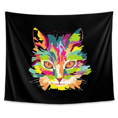 Cubist Pop Art Cat Wall Tapestry