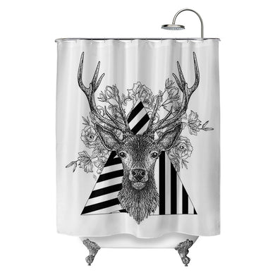 Stag and Roses Shower Curtain