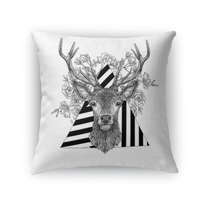 Stag and Roses Throw Pillow