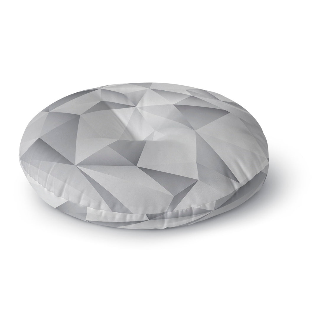 White Crystal Round Floor Pillow