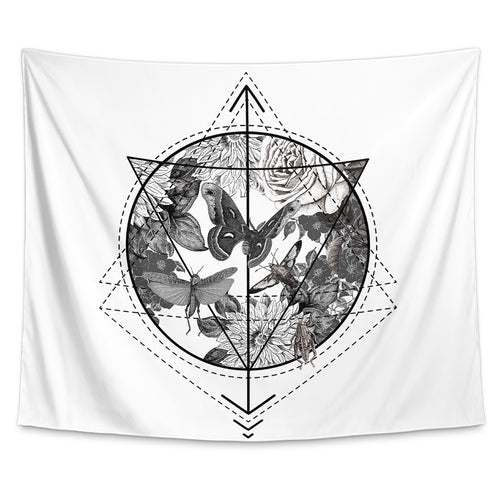 Butterflowers Geometry Wall Tapestry