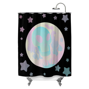 Pastel Skull Moon Shower Curtain