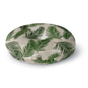 Tropical Palms Green Stripes Round Floor Pillow