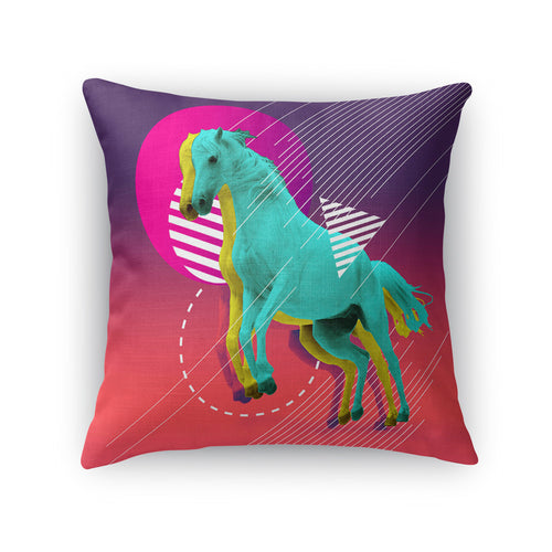 Neon Equus Throw Pillow