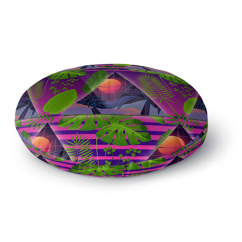 Miami Paradise Round Floor Pillow