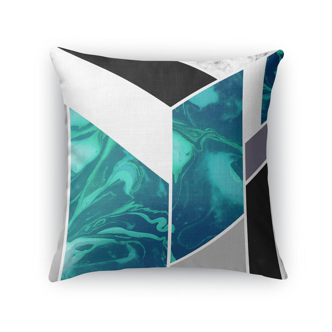 Luxe Marble Aqua Throw Pillow