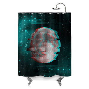 Lunar Glitch Shower Curtain