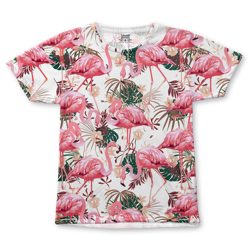 Flamingo White All-Over T-Shirt
