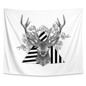 Stag and Roses Wall Tapestry