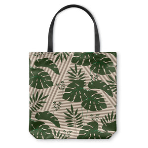 Tropical Leaves Green Stripes Tote Bag