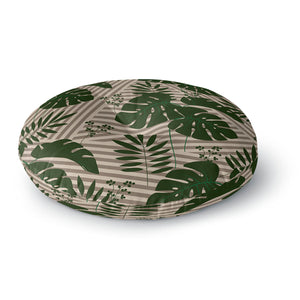 Tropical Leaves Green Stripes Round Floor Pillow
