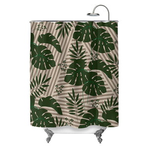 Tropical Leaves Green Stripes Shower Curtain
