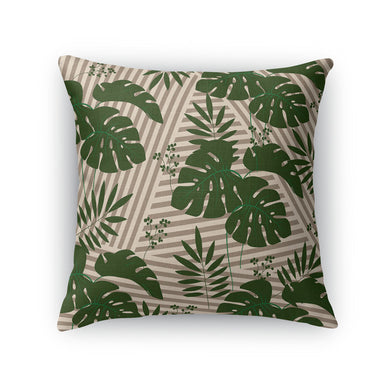 Tropical Leaves Green Stripes Throw Pillow