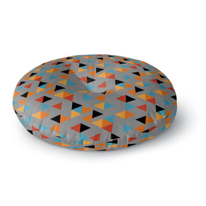 Colorful Triangles Round Floor Pillow
