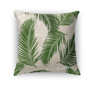 Tropical Palms Green Throw Pillow
