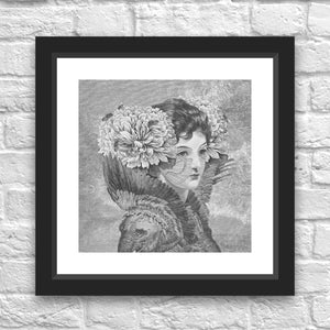 Courtesan with Peonies by Julius Garrido Framed Art Print