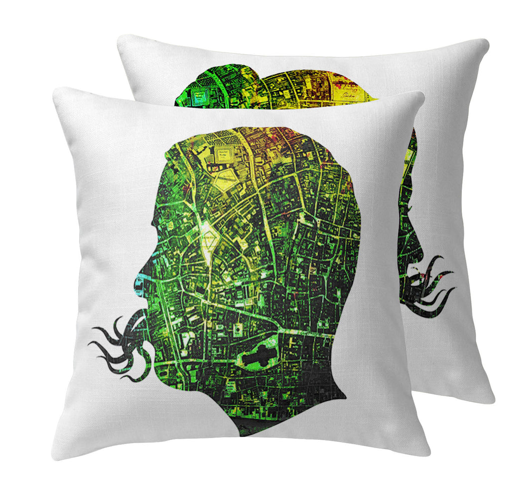 City Squid Throw Pillow