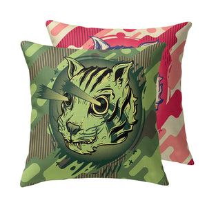 Kitty Commando Throw Pillow